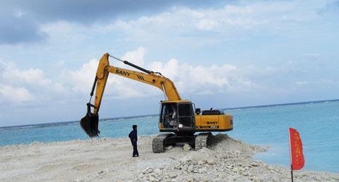 """三一挖掘机参与西沙群岛""""西渔交通码头""""施工施工项目"""