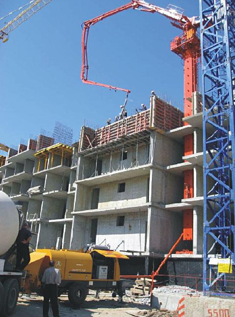 三一布料杆在哈巴罗夫斯克工地上施工施工项目