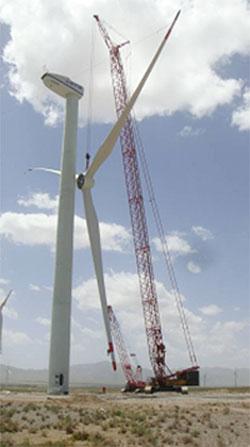 三一(SCC4000)履带起重机参与甘肃玉门风电基地工程建设施工项目