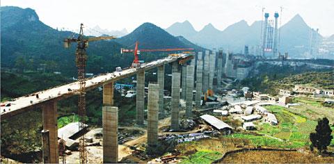 """三一输送泵""""服役""""峡谷大桥——贵州坝陵河特大桥工程施工项目"""