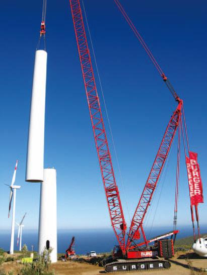 三一SCC4000履带起重机参与智利LOSVILLOS风电场工程施工项目