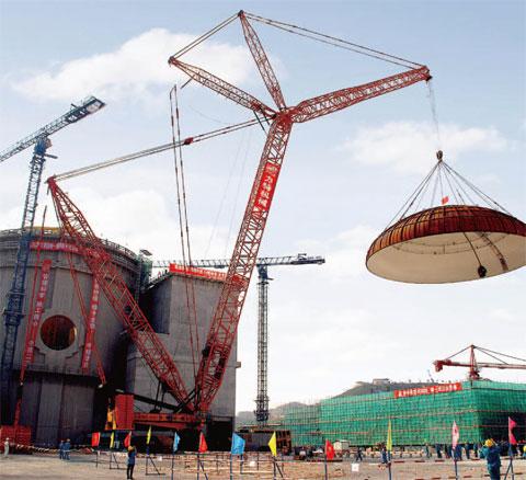 三一(SCC9000)履带起重机参与福建宁德核电站现场吊装施工项目
