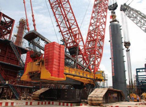 三一SCC9000履带起重机参与广东茂名石化工程施工施工项目