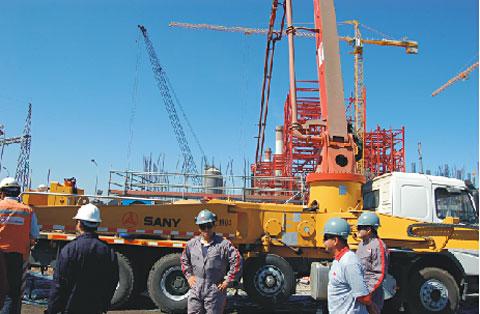 三一泵车为智利发电站连续泵送2300方作业量施工项目