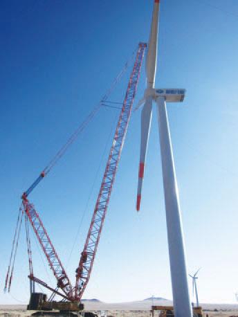 三一(SCC6300)履带起重机参与内蒙古锡林浩特市灰腾河镇晨辉风电场现场吊装施工项目