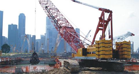 三一履带吊参与MARINA海湾赌场工程施工施工项目