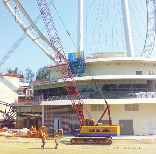 三一50吨履带吊建设新加坡世界*一摩天轮施工项目