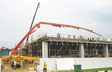 三一泵车打造新加坡物流中心施工项目
