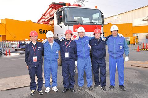 三一62米泵车参与福岛核电站救援施工项目