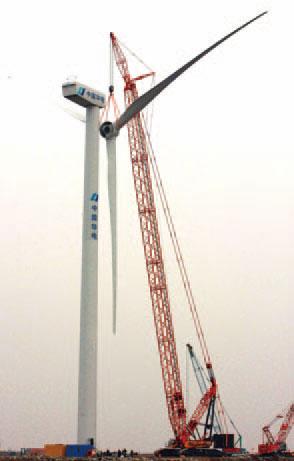 三一(SCC6500WE)风电专用履带起重机参与江苏华电灌云风电机组现场吊装施工项目