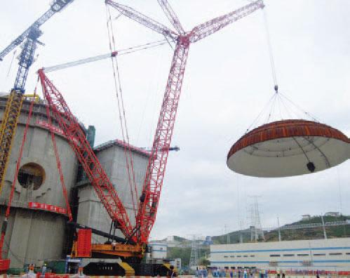 三一(SCC9000)履带起重机参与福建宁德核电站穹顶吊装施工项目