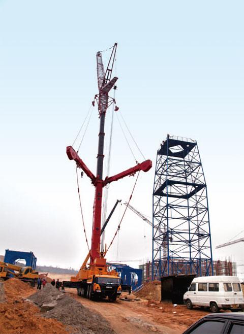 三一(SAC3500)参与当阳市鑫冠化工厂铁塔安装施工项目