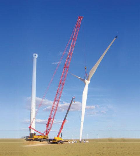 三一(SCC6300)履带起重机参加内蒙古乌拉特中旗川井龙源风电现场吊装施工项目