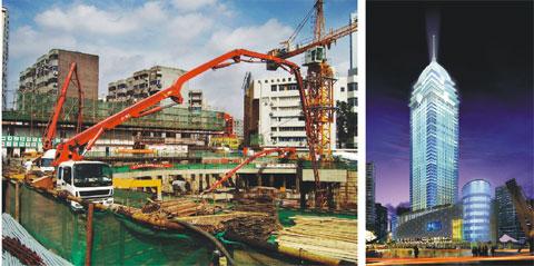 三一设备扬威无锡第一高楼施工项目