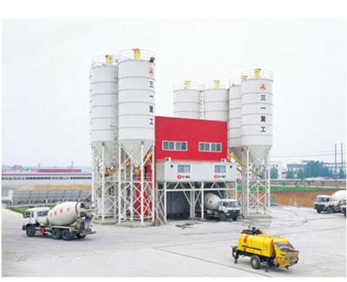 三一拖泵在湖北随州天成公司混凝土搅拌站作业施工项目