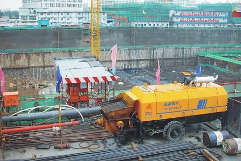 无插件直播HBT80C-1818D拖泵在银泰中心施工施工项目