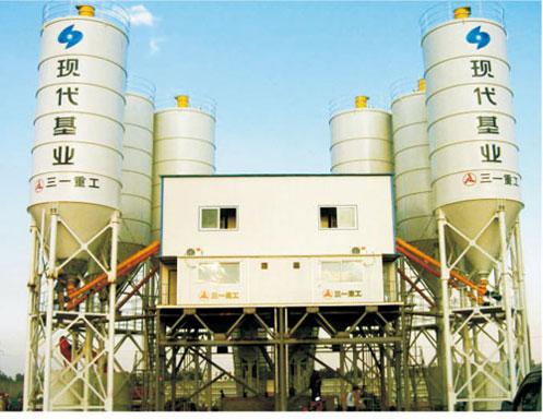 三一混凝土搅拌站在武汉现代基业商品砼公司作业现场施工项目