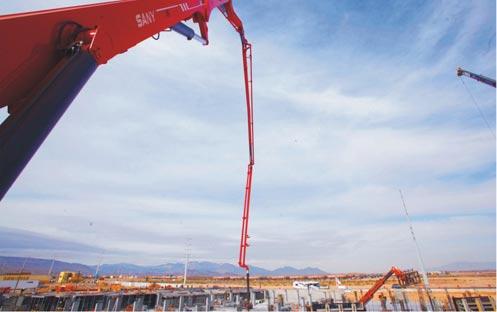 三一66米泵车挑战业界极限施工项目
