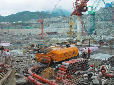 三一输送混凝土最大骨料直径达80mm——三峡工程施工项目
