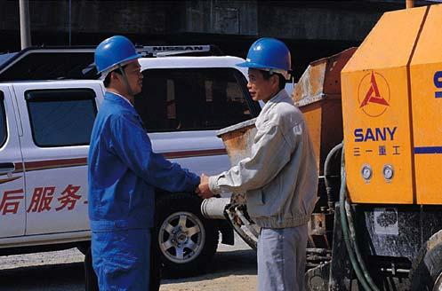 三一拖泵在深圳赛格广场进行混凝土泵送施工项目