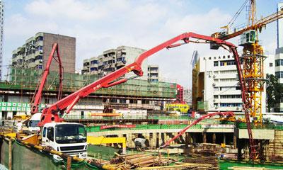 三一混凝土设备参与红豆国际建设施工项目