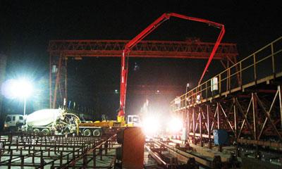 三一泵车在海南东环铁路琼海梁场施工项目