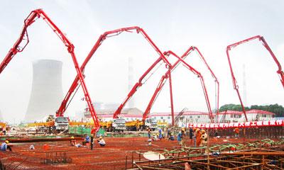 777真人泵车参与上海闵浦大桥建设施工项目