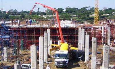 三一混凝土设备参与南非海明威和姆丹察内商场建设施工项目