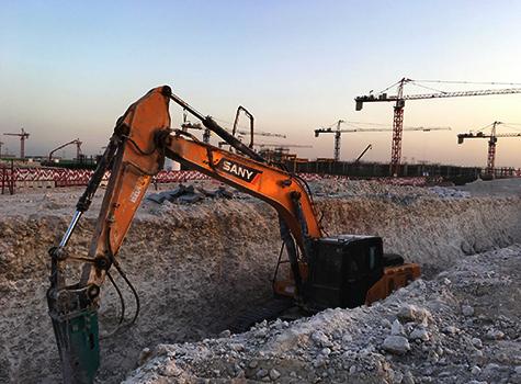 三一设备参与修建卡塔尔国家战略储备水池施工项目