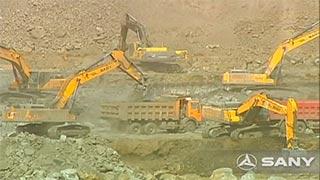 二十多台三一挖机山西阳泉荫营煤矿施工现场