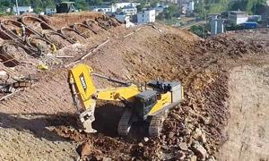 金刚猛士SY700三一70吨挖机 赣州实拍,破石如破土