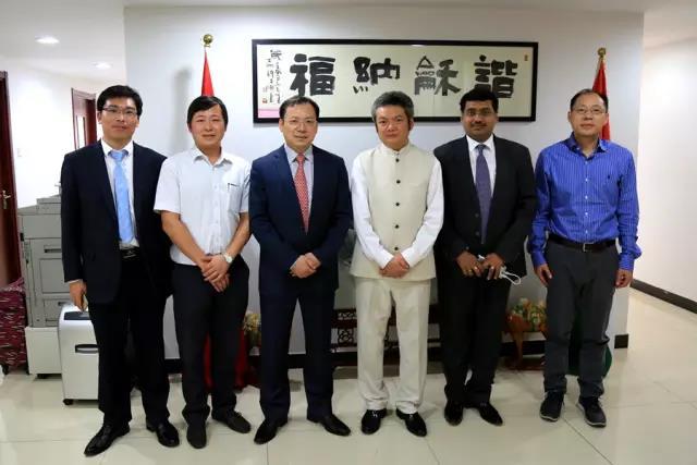 驻孟买总领事郑曦原会见三一集团总裁唐修国
