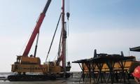 三一电气潮间带风电施工装备现场施工报道(三) SYTZ800完成第*根沉桩作业