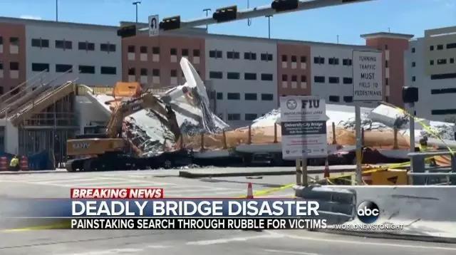 美国天桥垮塌!三一挖掘机紧急出动!