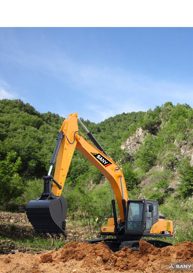 SY235C-9中型反铲挖掘机在施工场地